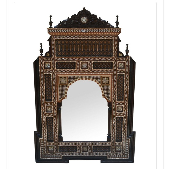 Moroccan Mother of Pearl Inlaid Wood Wall Mirror